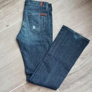 7FAM Distressed Bootcut Jeans Size 26